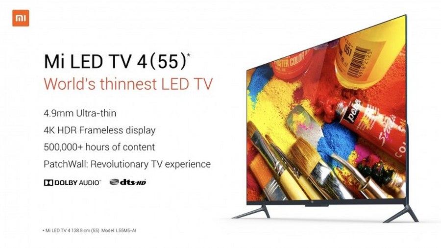 تلویزیون هوشمند ۵۵ اینچی شیائومی با نام Mi LED TV 4 معرفی شد