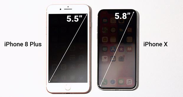 آیفون ایکس کوچکتر از آیفون 8 پلاس، اما صاحب بزرگترین نمایشگر در بین گوشیهای اپل
