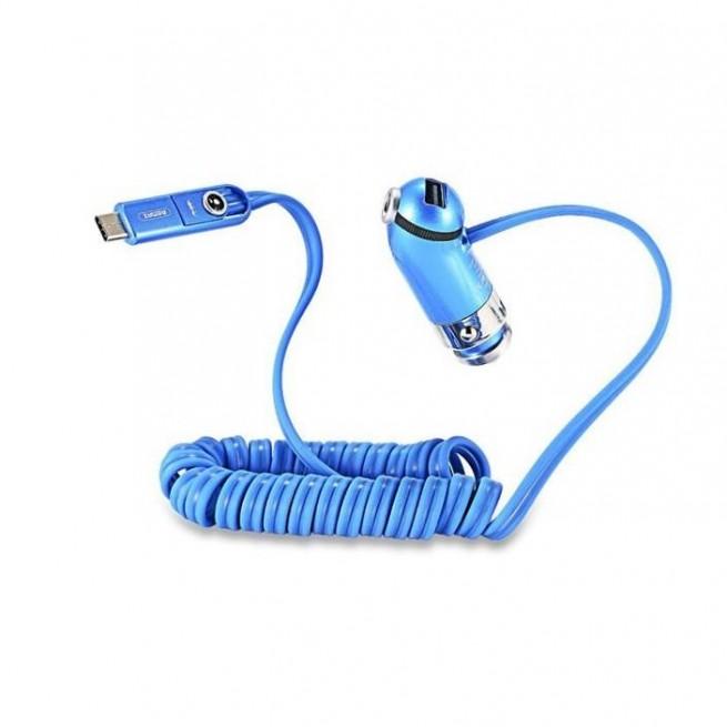 شارژر فندکی ریمکس مدل RCC211 به همراه کابل تبدیل USB به Micro،لایتنینگ