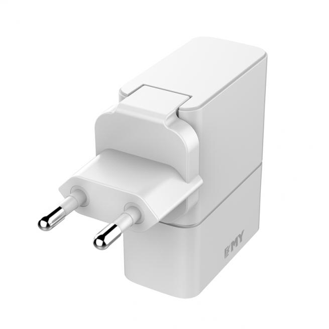 شارژر دیواری چند پورت Emy My-A501Q Charger + Lightning Cable