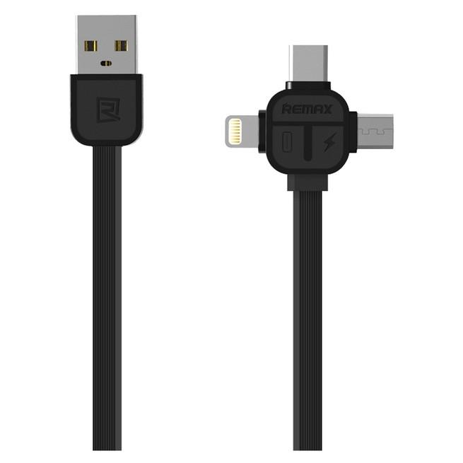 کابل تبدیل USB به MicroUSB,USB-C,لایتنینگ ریمکس مدل RC-066th