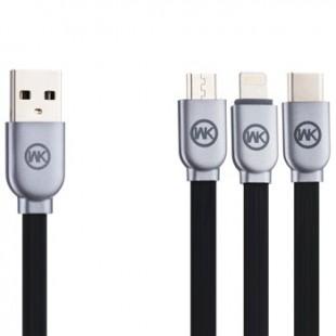 کابل تبدیل USB به Micro /USB-C /Lightning دبلیو کی مدل WDC-010 طول 1 متر
