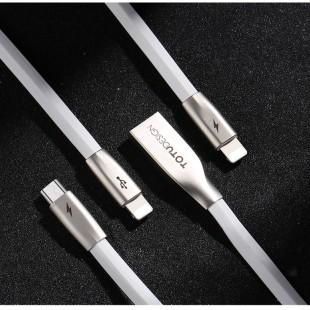 کابل تبدیل USB به MicroUSB/USB-C/لایتنینگ توتو مدل ZINC ALLOY LI-003 طول 1.5متر