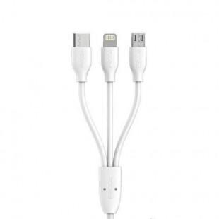 کابل تبدیل USB به USB-C،MicroUSBTلایتنینگ پرودا مدل PC-02th طول 1 متر