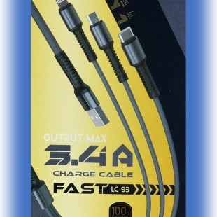 کابل تبدیل USB به MicroUSB/USB-C/لایتنینگ الدینیو مدل LC93 طول 1.2 متر