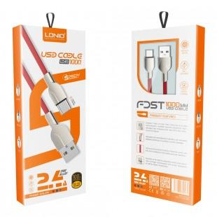 کابل تبدیل USB به MicroUSB الدینیو مدل LS411 طول 1 متر