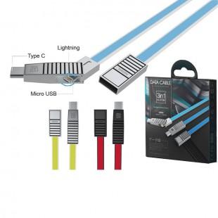 کابل تبدیل USB به MicroUSB / USB-C / لایتنینگ ریمکس مدل RC-072th طول 1 متر