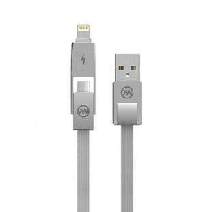 کابل تبدیل USB به Ligthning/MicroUSB دبلیو کی مدل WDC-014 طول 1 متر