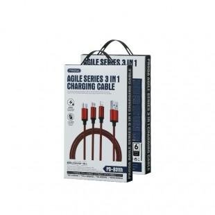 کابل تبدیل USB به MicroUSB / USB-C / لایتنینگ پرودا مدل PD-B31th طول 1.25 متر