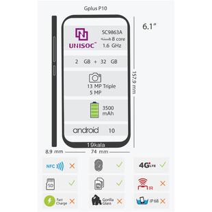 گوشی موبایل جی پلاس مدل P10 GMC635K دو سیم کارت ظرفیت 32 گیگابایت و رم 2 گیگابایت