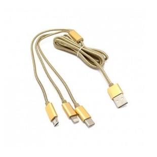 کابل تبدیل USB به MicroUSB/USB-C/لایتنینگ الدینیو مدل LC85C طول 1.2 متر