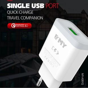 شارژر دیواری تک پورت Emy My-A301Q Charger + Type-C Cable