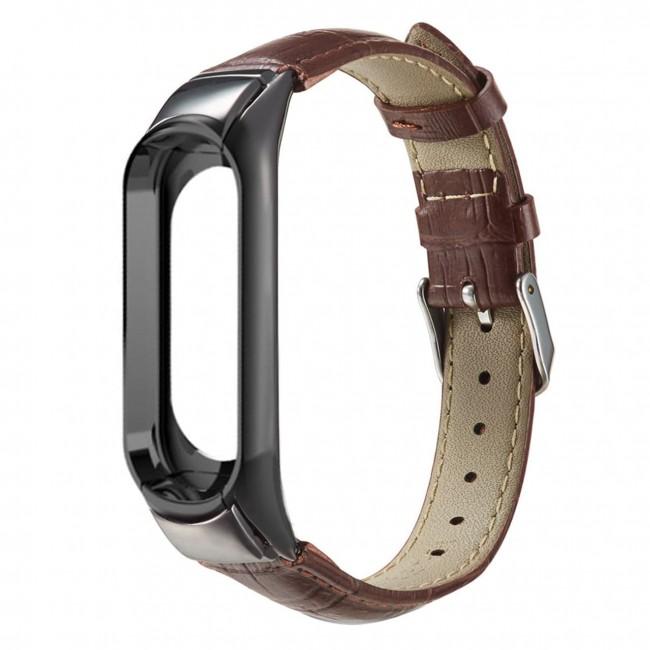بند چرمی میبند مدل Crocodile Leather مناسب برای Mi Band 3 / Mi Band 4