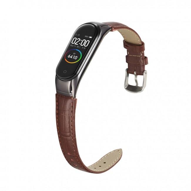 بند چرمی میبند مدل Crocodile Leather مناسب برای Mi Band 5 / Mi Band 6