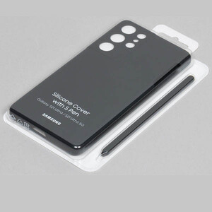 کاور سامسونگ مدل Silicon مناسب برای گوشی موبایل سامسونگ Galaxy S21 Ultra به همراه قلم نوری