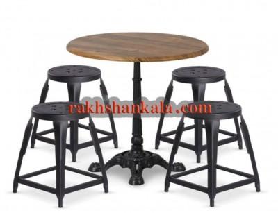 ست چهارپایه و میز فلزی رویه چوبLIL