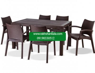 ست میز و صندلی 6 نفره بامبو 80