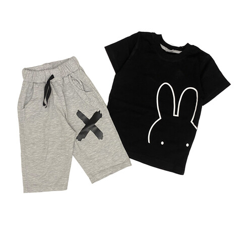 تیشرت و شلوارک طرح خرگوش مشکی