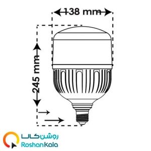 لامپ LED استوانه ای ۵۰ وات پارس شعاع توس