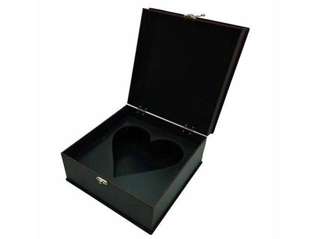جعبه چوبی مربع قلبی مات مدل 0188
