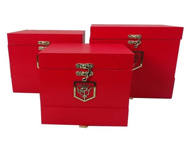جعبه مربع کشودار پوست ماری 3تکه مدل 1436