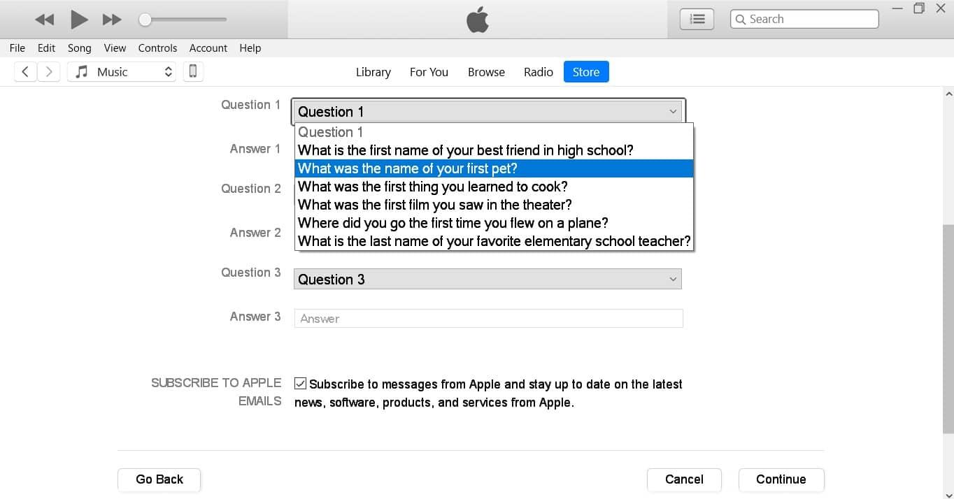 سوالات امنیتی ساخت اپل آیدی رایگان
