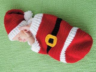 کیسه خواب نوزادی قلا ب بافی با کلاه