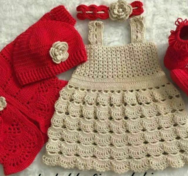 پیراهن نوزادی بافتنی مدل پرنسس کد755
