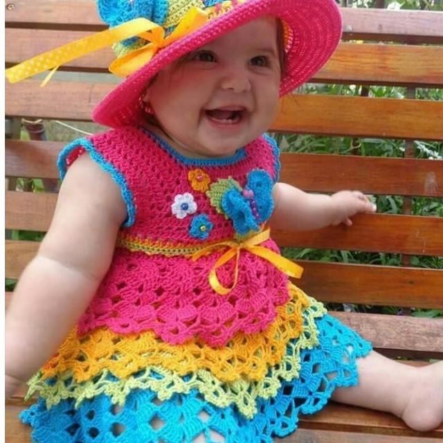 پیراهن نوزادی بافتنی مدل  II-CC-PP