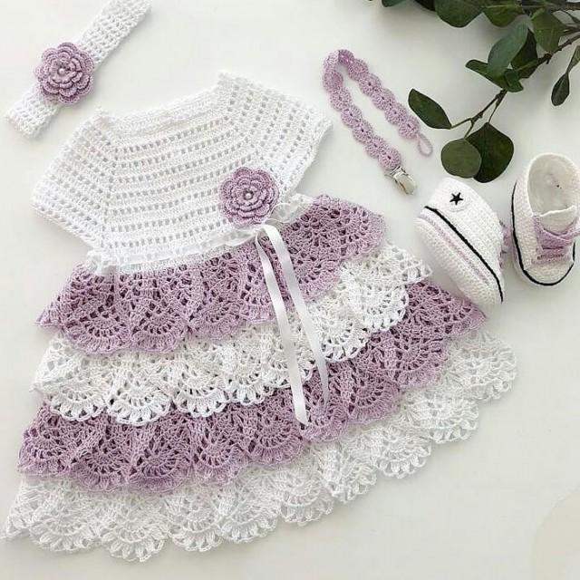 پیراهن نوزادی بافتنی باپاپوش مدل77-PP-GGII