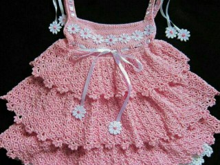پیراهن نوزادی بافتنی مدل پرنسس کد2211