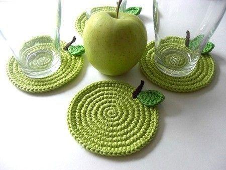 زیرلیوانی طرح سیب بسته 4عددی