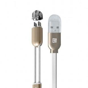 کابل شارژ دوکاره ریمکس مدل Twins RC-025t با رابط میکرو یو اس بی و لایتنینگ اپل