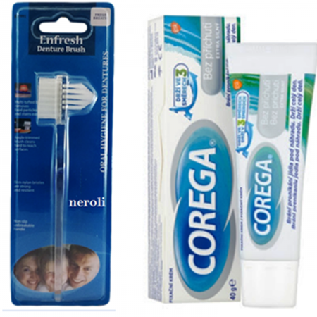 چسب دندان مصنوعی کورگا 40 گرم بدون طعم و بو همراه با مسواک دندان مصنوعی