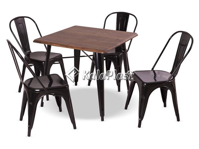 ست 4 نفره میز و صندلی پایه فلزی تولیکس