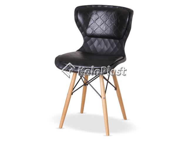 صندلی بدون دسته دیاموند با پایه چوبی و تشک چرمی