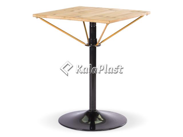میز فلزی چهار نفره مربع تک پایه با رویه چوب طبیعی ( ترمو وود )