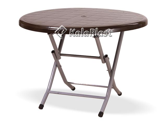 میز پلاستیکی گرد پایه فلزی تاشو کد 215