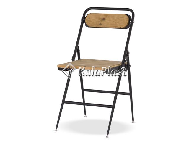 صندلی فلزی تاشو با رویه چوبی ساده