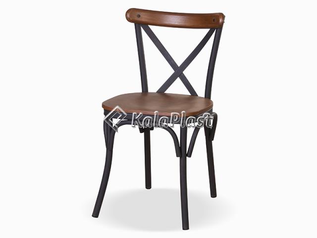 صندلی بدون دسته فلزی با کفه و پشت چوبی تونت