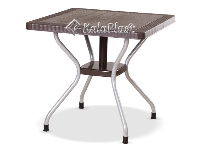 میز 4 نفره مربع طرح حصیری با پایه فلزی کد 623