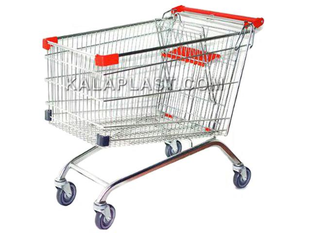 سبد خرید چرخدار فروشگاهی فلزی سایز 120 لیتری