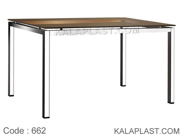 میز 6 نفره صفحه شیشه ای 10 میل با چهارپایه پروفیلی کد 662