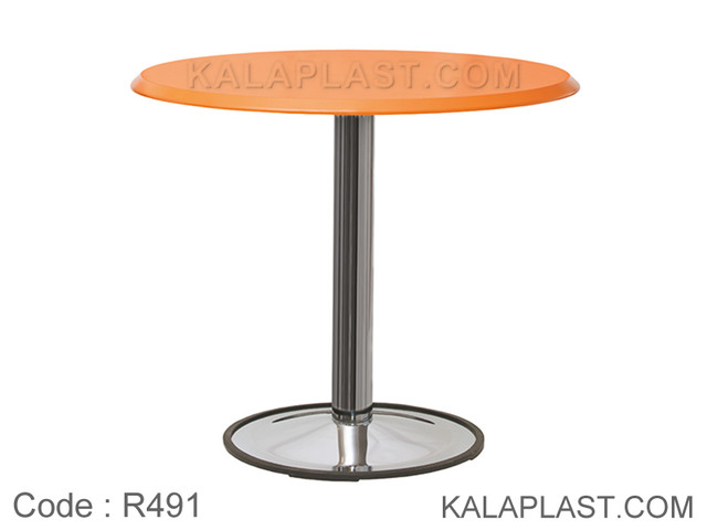میز 4 نفره دایره با صفحه PVC و پایه بشقابی کروم کد R491