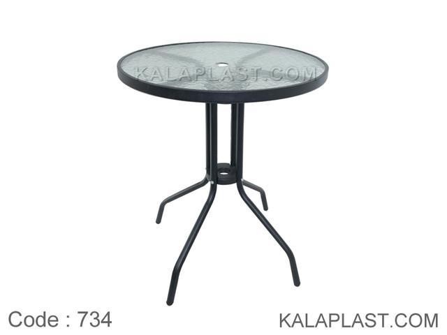 میز فلزی گرد کافه قطر 60 سانت با صفحه شیشه ای کد 734