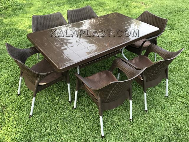 ست میز و صندلی 6 نفره دالیان با تشک کد S670T