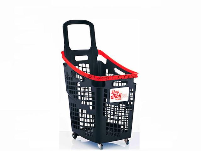 سبد خرید چرخدار فروشگاهی 65 لیتری پلاستیکی اسپانیایی