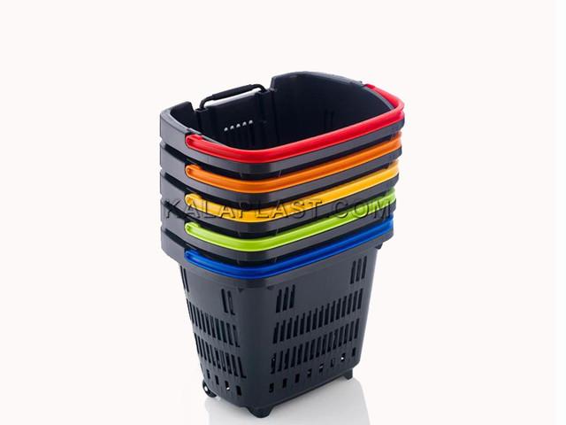 سبد خرید فروشگاهی 34 لیتری چرخدار پلاستیکی اسپانیایی
