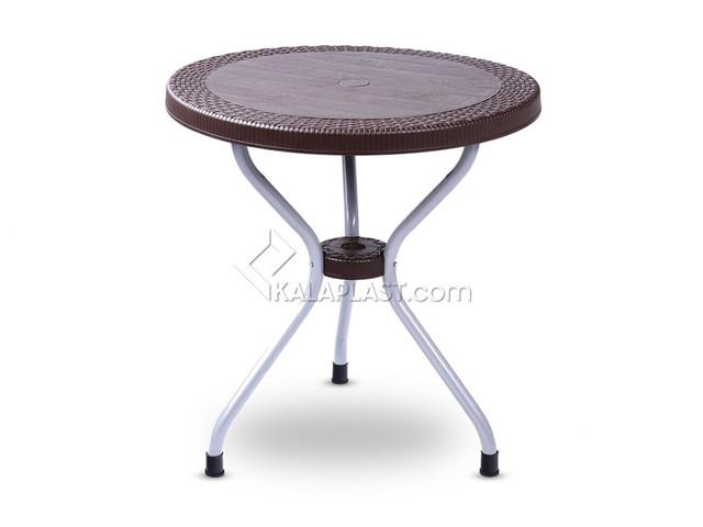 میز 2 نفره گرد طرح حصیری پایه فلزی کد 422