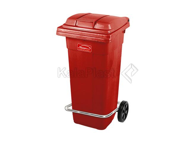 سطل زباله پلاستیکی 120 لیتری چرخدار و پدالدار ناصر کد 5125